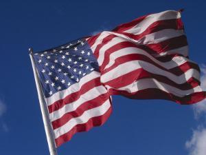 American Flag Flaps in Wind, Cle Elum, Washington, USA by Nancy & Steve Ross