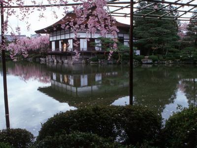 Geishas on the Balcony of Shobi-Kan Teahouse in Garden at Heian Shrine, Kyoto, Japan