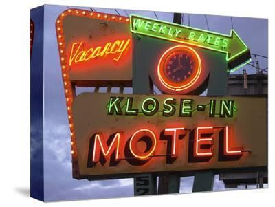 Klose-In Motel Sign Lights as Night Falls, Seattle, Washington, USA