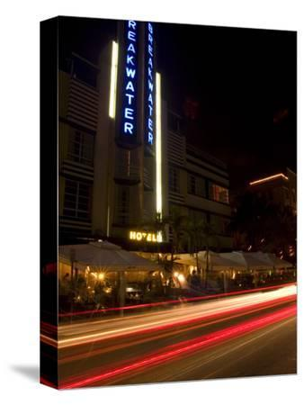 Nighttime Traffic on Ocean Drive, Art Deco Hotels, South Beach, Miami, Florida, USA