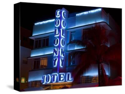 Nighttime View of Art Deco Colony Hotel, South Beach, Miami, Florida, USA