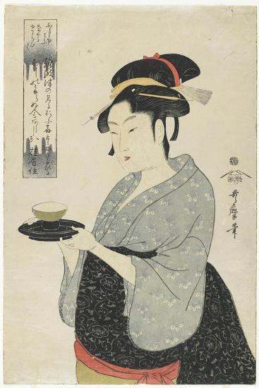 Naniwaya Teahouse Waitress Okita, C. 1793-Kitagawa Utamaro-Giclee Print