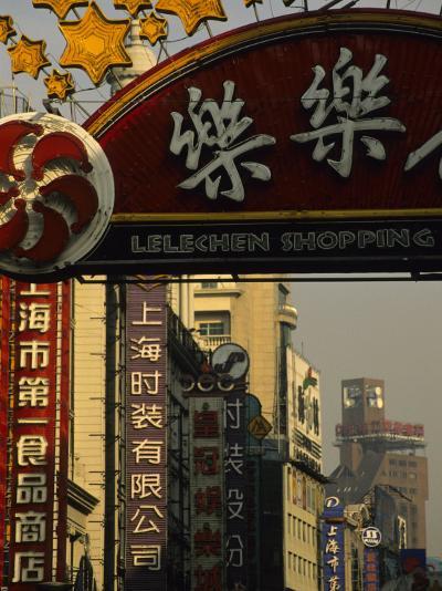 Nanjing Lu Pedestrian Shopping Street, Shanghai, China-Ellen Clark-Photographic Print