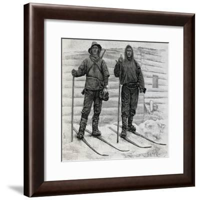 Nansen and Johansen at Cape Flora, Engraving from the Report of the Fram Expedition of 1893-1896-Fridtjof Nansen-Framed Giclee Print