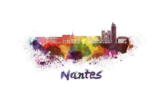 Nantes Skyline in Watercolor-paulrommer-Art Print