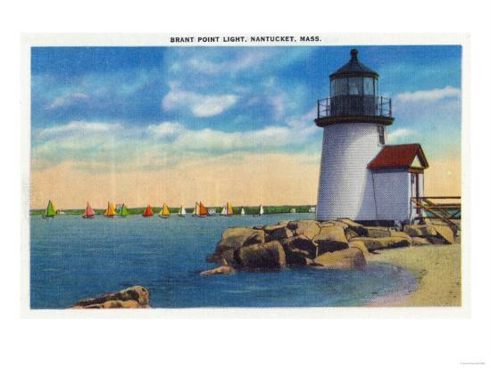 Nantucket, Massachusetts - Brant Point Lighthouse Scene-Lantern Press-Art Print