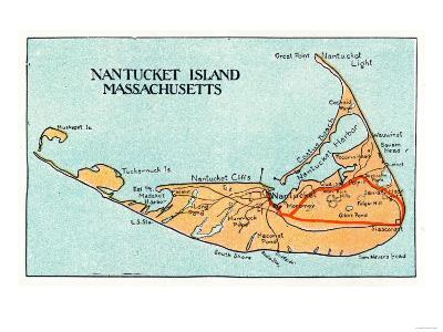 Nantucket, Massachusetts - Map of the Island-Lantern Press-Art Print