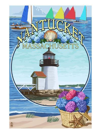 Nantucket, Massachusetts Montage-Lantern Press-Art Print