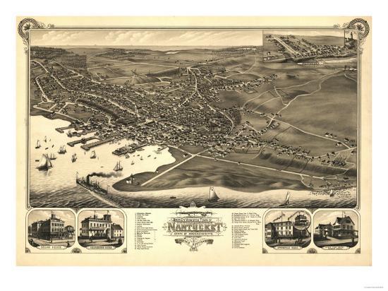 Nantucket, Massachusetts - Panoramic Map-Lantern Press-Art Print