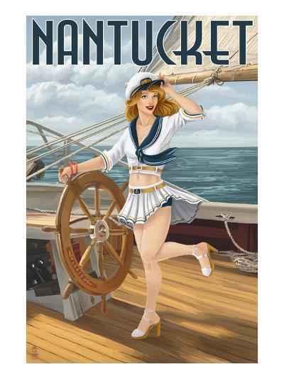 Nantucket, Massachusetts - Pinup Girl Sailing-Lantern Press-Art Print