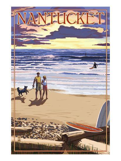 Nantucket, Massachusetts - Sunset Beach Scene-Lantern Press-Art Print