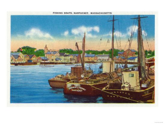 Nantucket, Massachusetts - View of Fishing Boats at Harbor-Lantern Press-Art Print