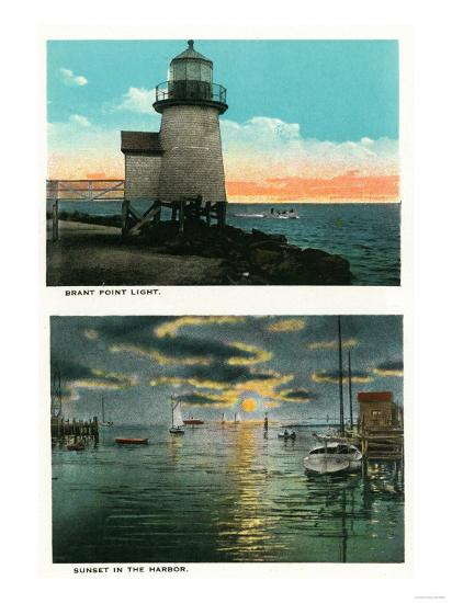 Nantucket, Massachusetts - View of the Brant Point Lighthouse-Lantern Press-Art Print