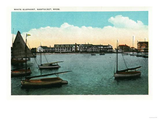 Nantucket, Massachusetts - View of White Elephant-Lantern Press-Art Print