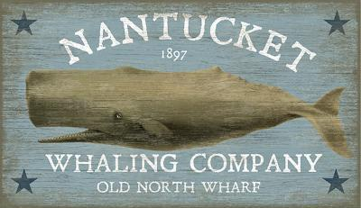 Nantucket Whale--Wood Sign