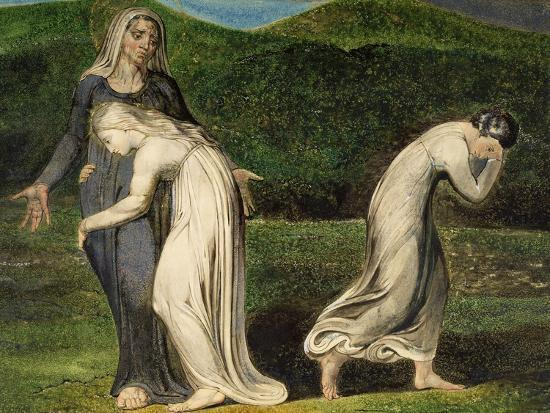 Naomi Entreating Ruth and Orpah to Return to the Land of Moab-William Blake-Giclee Print
