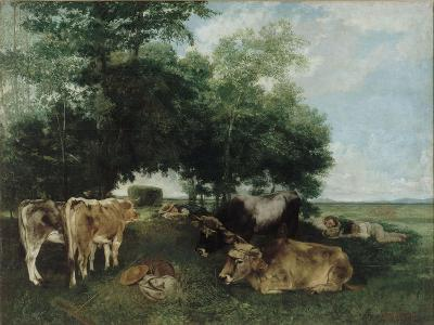 Nap During the Haying Season, Doubs Mountains-Gustave Courbet-Giclee Print