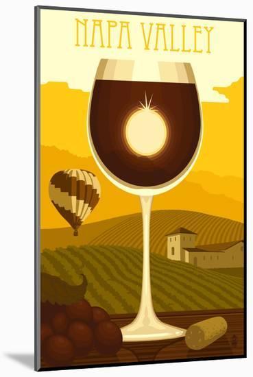 Napa Valley, California - Wine Glass and Vineyard-Lantern Press-Mounted Art Print