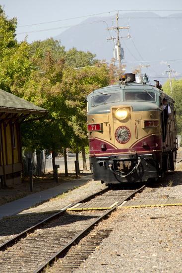 Napa Valley Wine Train in Train Station, California, USA-Cindy Miller Hopkins-Photographic Print