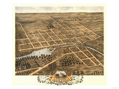Naperville, Illinois - Panoramic Map-Lantern Press-Art Print
