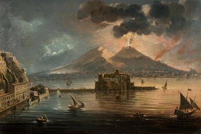 Naples at Night with Vesuvius Erupting-Pietro Antoniani-Giclee Print