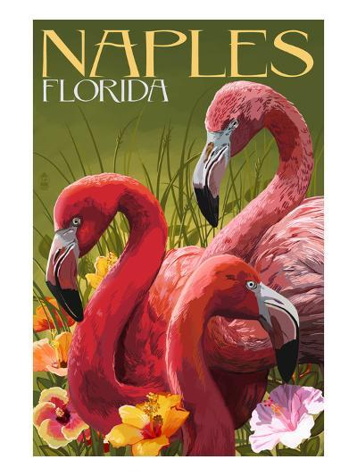 Naples, Florida - Flamingos-Lantern Press-Art Print