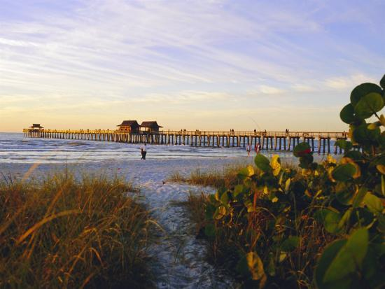 Naples, Florida, USA. Sunset at the Beach and Pier-Fraser Hall-Photographic Print