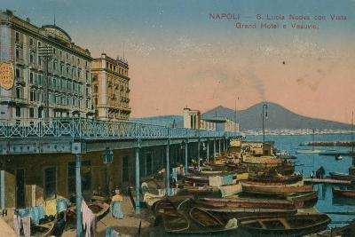 Naples - View of the Grand Hotel Santa Lucia and Mount Vesuvius. Postcard Sent in 1913-Italian Photographer-Giclee Print