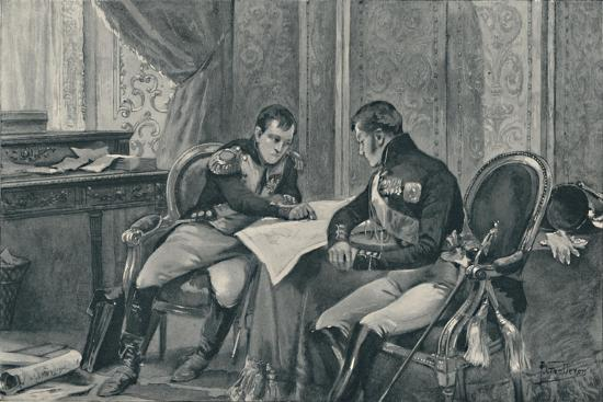 'Napoleon and Alexander at Tilsit Studying The Map of Europe', 1807, (1896)-Unknown-Giclee Print