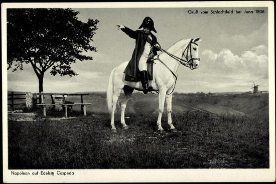 Napoleon Bonaparte, Edelsitz Cospeda, Weißes Pferd, Jena 1806, Schlachtfeld--Giclee Print