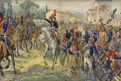 Napoleon Bonaparte on His Arrival in the Occupied City of Nice--Giclee Print