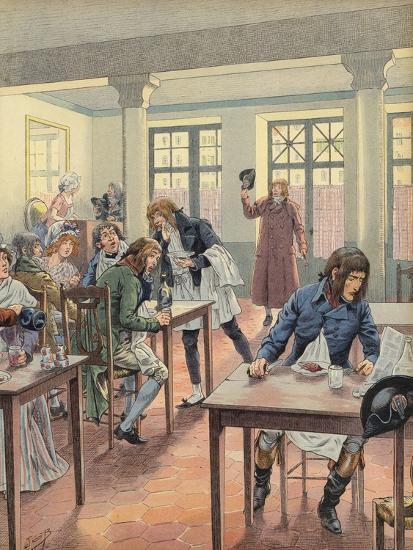 Napoleon Bonaparte Sitting in a Busy Restaurant--Giclee Print