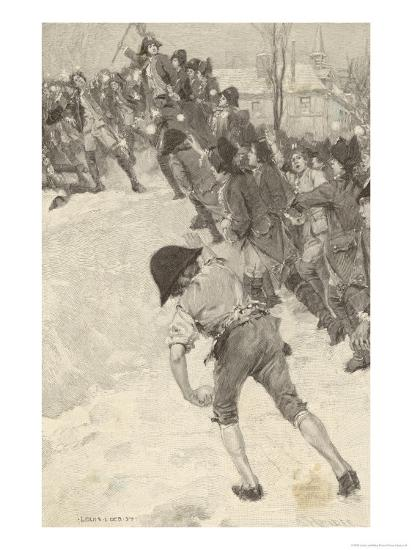 Napoleon Circa 1780 Attacking Snow Forts at the Military School at Brienne-Louis Loeb-Giclee Print