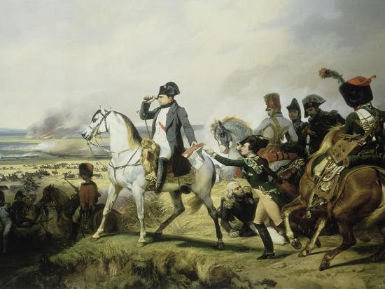 Napoléon Ier à la bataille de Wagram, 6 juillet 1809 (il est accompagné du général Bessières)-Horace Vernet-Giclee Print