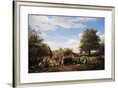 Napoleon III Visiting Coudray Farm in Salogne, 1852-Raymond Noel Esbrat-Framed Giclee Print