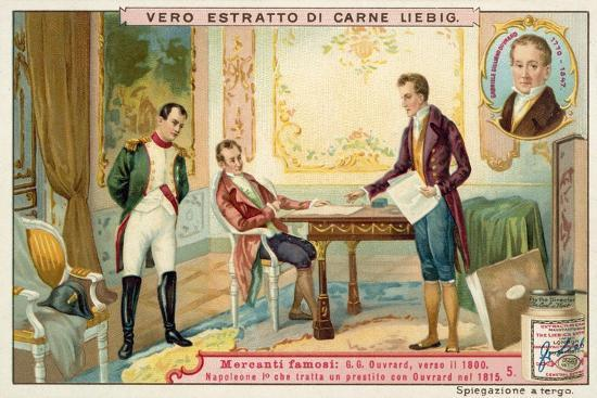 Napoleon Negotiating a Loan with French Banker Gabriel-Julien Ouvrard, 1815--Giclee Print