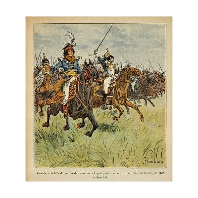 Napoleonic Wars, Joachim Murat Charging at the Head of His Cavalry-Louis Bombled-Giclee Print