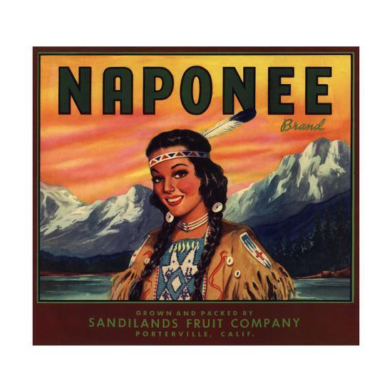 Naponee Brand - Porterville, California - Citrus Crate Label-Lantern Press-Art Print