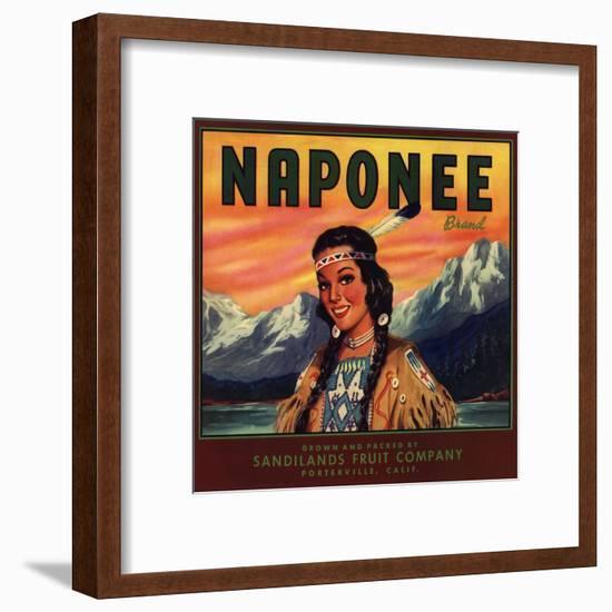 Naponee Brand - Porterville, California - Citrus Crate Label-Lantern Press-Framed Art Print