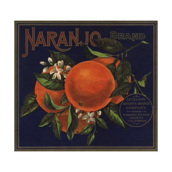 Naranjo Brand - Naranjo, California - Citrus Crate Label-Lantern Press-Art Print