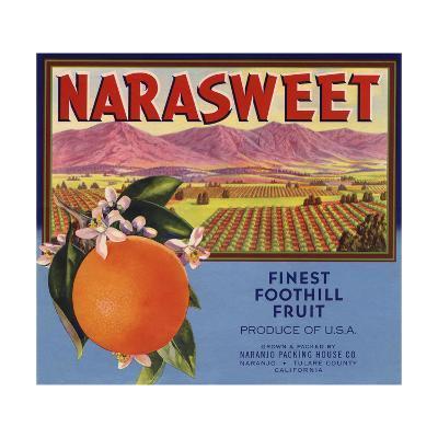 Narasweet Brand - Naranjo, California - Citrus Crate Label-Lantern Press-Art Print