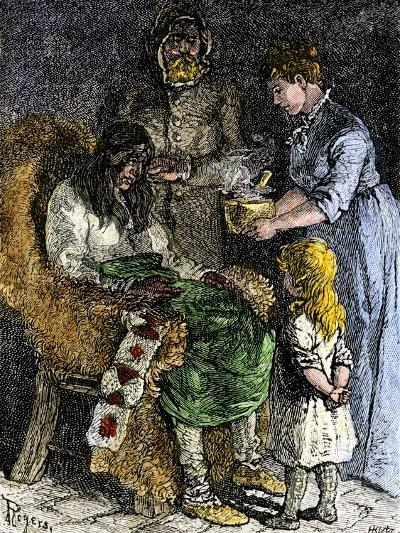 Narcissa Whitman Nursing a Sick Native American During the Whitmans' Missionary Expedition, 1840s--Giclee Print
