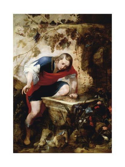 Narcissus Looking at His Reflection in a Fountain-Jan Roos-Giclee Print