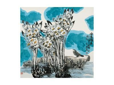 Narcissuses and Bird-Wanqi Zhang-Giclee Print