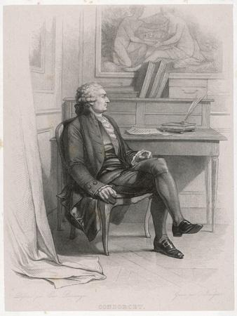 Marquis de Condorcet French Philosopher Sitting at His Desk