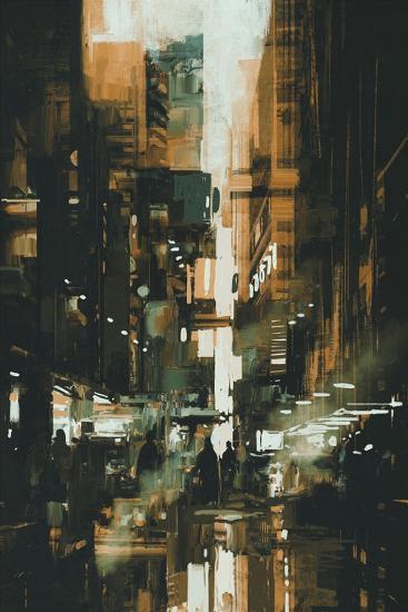 Narrow Alley in Dark City,Illustration Painting-Tithi Luadthong-Art Print