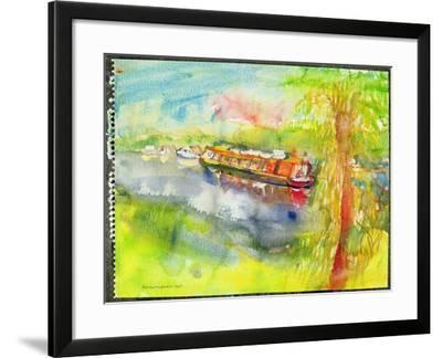 Narrow Boat on the River Lea-Brenda Brin Booker-Framed Giclee Print