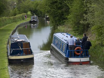Narrow Boats Cruising the Llangollen Canal, England, United Kingdom, Europe-Richard Maschmeyer-Photographic Print