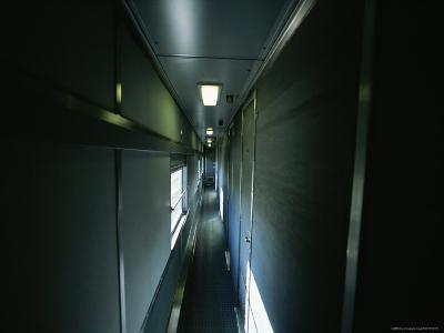 Narrow Hallway in Sleeper Car on Board Via Rail Canada Train-Todd Gipstein-Photographic Print