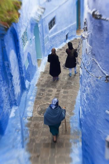 Narrow Lane, Chefchaouen, Morocco-Peter Adams-Photographic Print